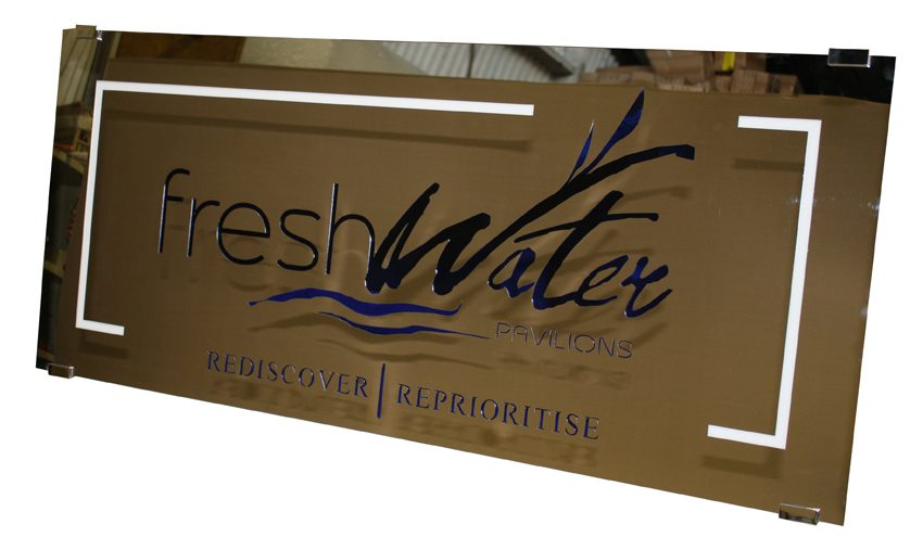 Mirror polished stainless sign